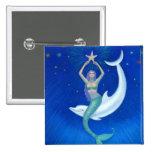 Dolphin Moon Mermaid Button