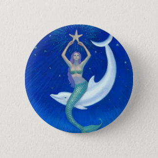Dolphin Moon Mermaid Button