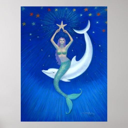 Dolphin Moon Mermaid fantasy art Poster