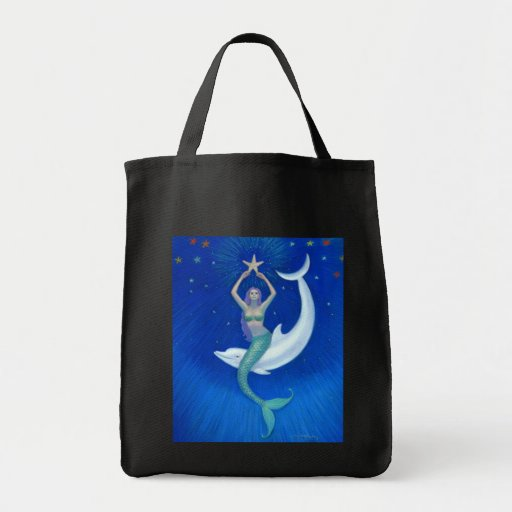 Dolphin Moon Mermaid Grocery Tote Bag