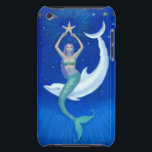 "Dolphin Moon Mermaid iPod Touch Case<br><div class=""desc"">Fantasy Art iPod Touch Case,  the Moon becomes a white dolphin who lifts a mermaid to her starfish. Mermaid art by Sue Halstenberg.</div>"