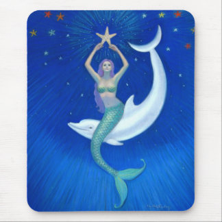Dolphin Moon Mermaid Mouse Pad