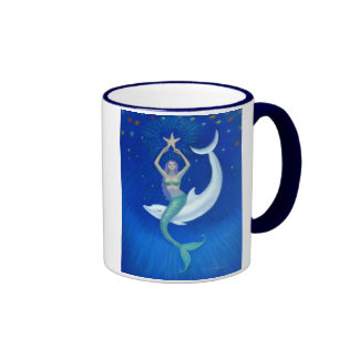 Dolphin Moon Mermaid Ringer Coffee Mug
