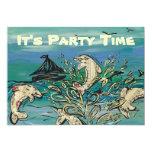 "Dolphin Music Party Invitations 5"" X 7"" Invitation Card"