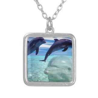 Dolphin Square Pendant Necklace