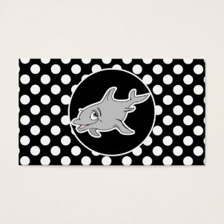 Dolphin on Black and White Polka Dots Business Card