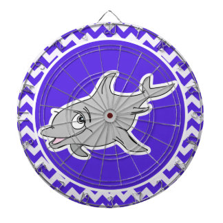 Dolphin on Blue Violet Chevron Dartboard