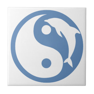 Dolphin on Blue Yin Yang Tile