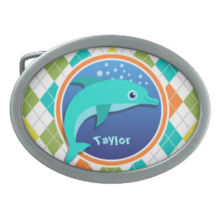 Dolphin on Colorful Argyle Pattern Belt Buckle