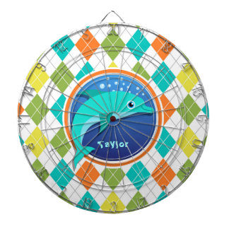Dolphin on Colorful Argyle Pattern Dartboard With Darts
