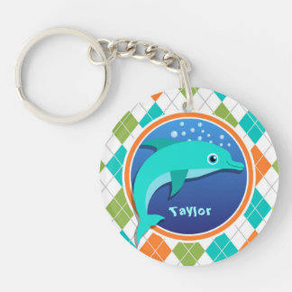 Dolphin on Colorful Argyle Pattern Double-Sided Round Acrylic Keychain