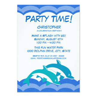 Dolphin Party Time Birthday 5x7 Paper Invitation Card