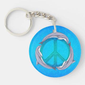 Dolphin Peace Key Chain