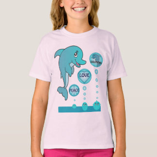 Dolphin Peace Love Dolphins Kids Pink T-shirt