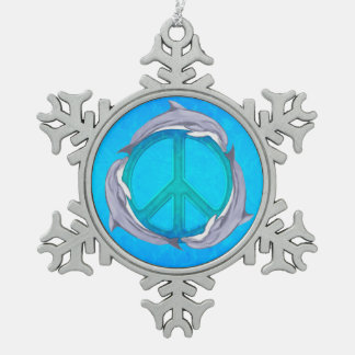 Dolphin Peace Snowflake Pewter Christmas Ornament