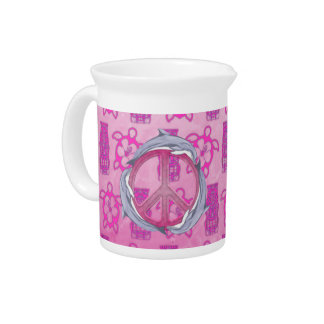 Dolphin Peace Pink Beverage Pitcher