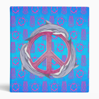 Dolphin Peace Pink Vinyl Binders