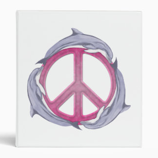 Dolphin Peace Pink 3 Ring Binder