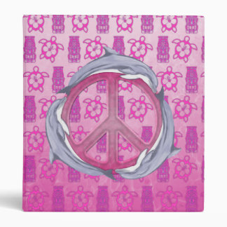 Dolphin Peace Pink 3 Ring Binders