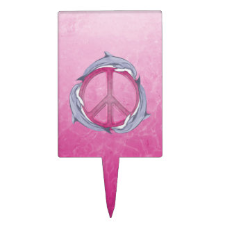 Dolphin Peace Pink Cake Topper
