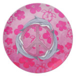 Dolphin Peace Pink Dinner Plate