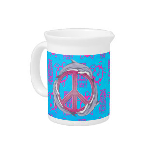 Dolphin Peace Pink Drink Pitcher