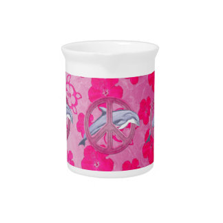 Dolphin Peace Pink Drink Pitchers