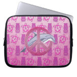 Dolphin Peace Pink Laptop Sleeves