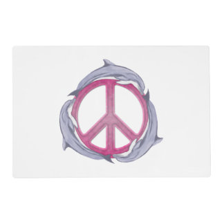 Dolphin Peace Pink Laminated Placemat