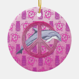Dolphin Peace Pink Christmas Ornament