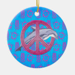 Dolphin Peace Pink Ornament