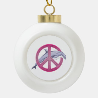 Dolphin Peace Pink Ceramic Ball Ornament
