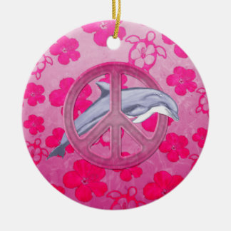 Dolphin Peace Pink Christmas Ornaments