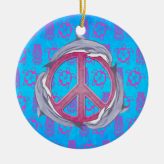 Dolphin Peace Pink Ornaments