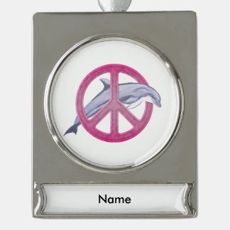 Dolphin Peace Pink Silver Plated Banner Ornament