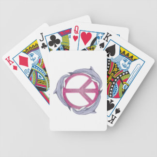 Dolphin Peace Pink Bicycle Playing Cards