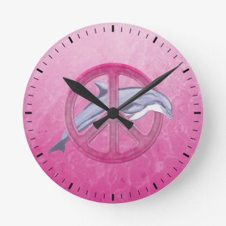 Dolphin Peace Pink Round Clock