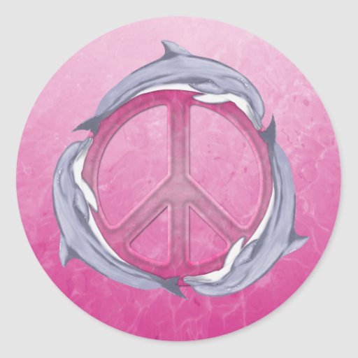 Dolphin Peace Pink Sticker
