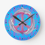 Dolphin Peace Pink Wall Clocks