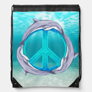 Dolphin Peace Drawstring Bags