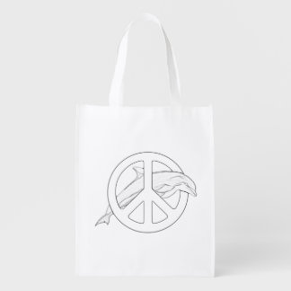 Dolphin Peace Sign Adult Coloring Bag Reusable Grocery Bag