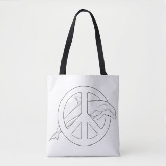 Dolphin Peace Sign Adult Coloring Full Tote Tote Bag