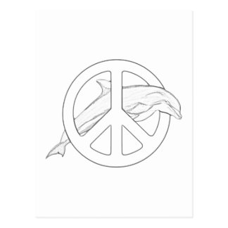 Dolphin Peace Sign Adult Coloring Postcard