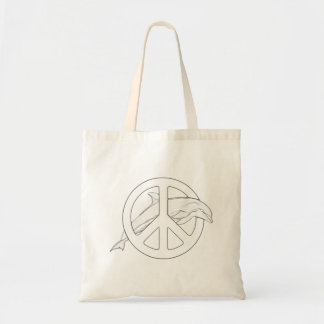 Dolphin Peace Sign Adult Coloring Tote Bag