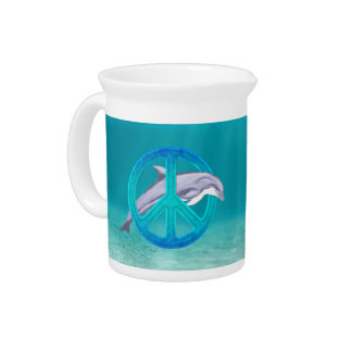 Dolphin Peace Symbol Drink Pitcher
