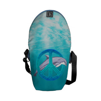 Dolphin Peace Symbol Courier Bag