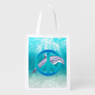 Dolphin Peace Grocery Bags