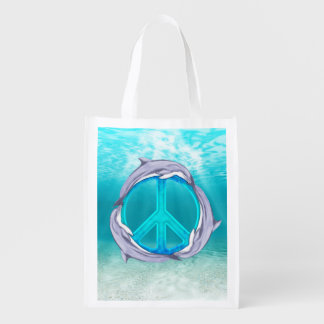 Dolphin Peace Reusable Grocery Bags