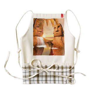 Dolphin plaing in the sunet zazzle HEART apron