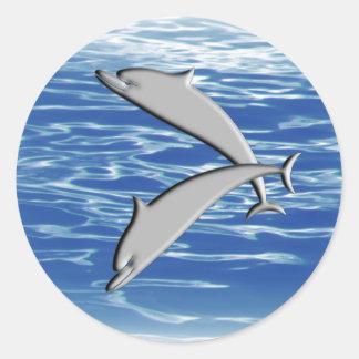 Dolphin Play Classic Round Sticker